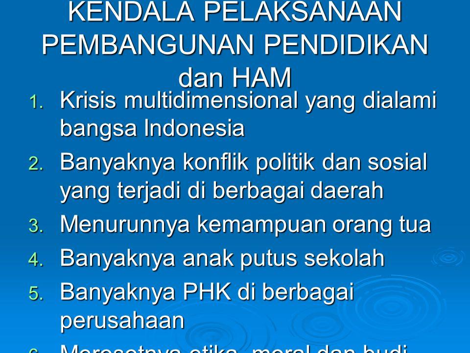 KENDALA PELAKSANAAN PEMBANGUNAN PENDIDIKAN dan HAM 1. Krisis multidimensional yang dialami bangsa Indonesia 2. Banyaknya konflik politik dan sosial ya