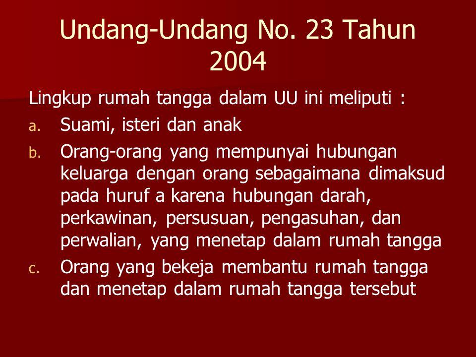 Undang-Undang No. 23 Tahun 2004 Lingkup rumah tangga dalam UU ini meliputi : a. a. Suami, isteri dan anak b. b. Orang-orang yang mempunyai hubungan ke