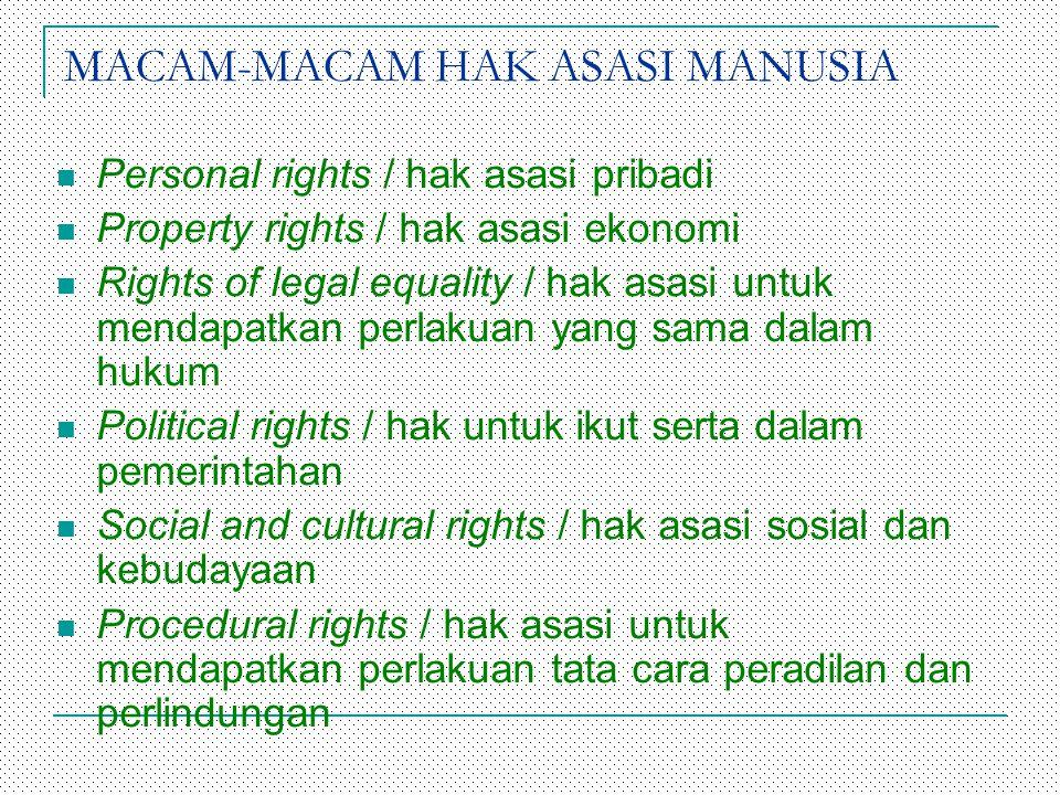 MACAM-MACAM HAK ASASI MANUSIA Personal rights / hak asasi pribadi Property rights / hak asasi ekonomi Rights of legal equality / hak asasi untuk menda