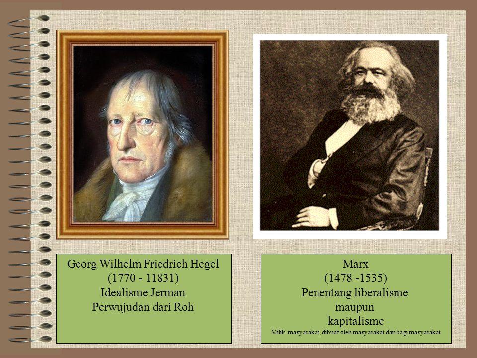Georg Wilhelm Friedrich Hegel (1770 - 11831) Idealisme Jerman Perwujudan dari Roh Marx (1478 -1535) Penentang liberalisme maupun kapitalisme Milik masyarakat, dibuat oleh masyarakat dan bagi masyarakat