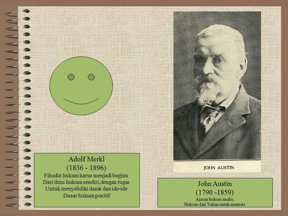 Adolf Merkl (1836 - 1896) Filsafat hukum harus menjadi bagian Dari ilmu hukum sendiri,dengan tugas Untuk menyelidiki dasar dan ide-ide Dasar hukum pos