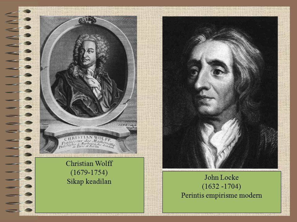 Christian Wolff (1679-1754) Sikap keadilan John Locke (1632 -1704) Perintis empirisme modern