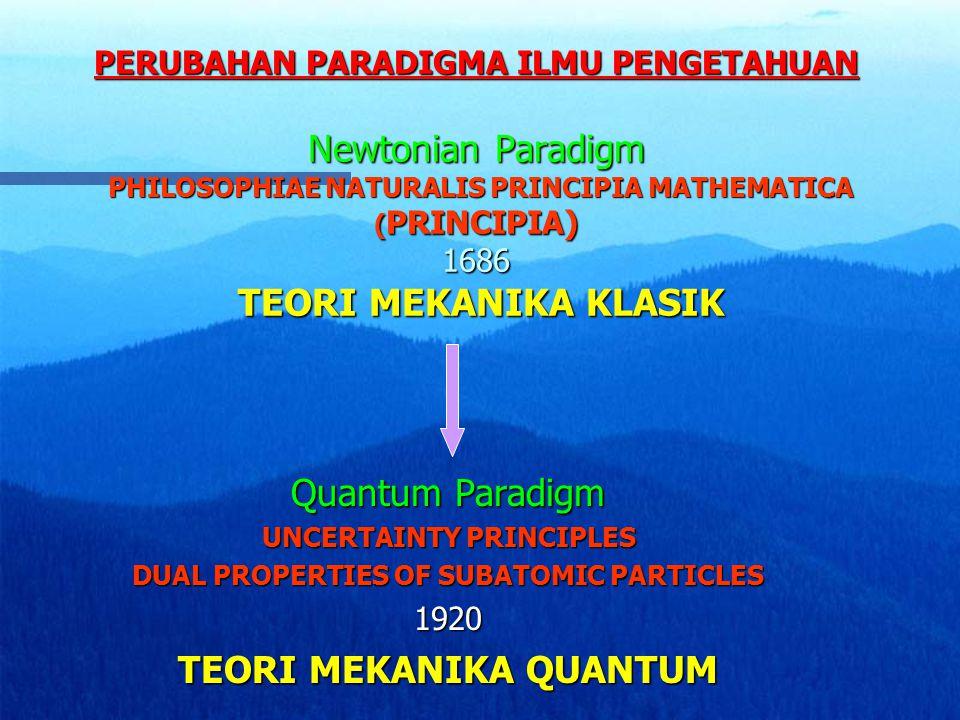 PERUBAHAN PARADIGMA ILMU PENGETAHUAN Newtonian Paradigm PHILOSOPHIAE NATURALIS PRINCIPIA MATHEMATICA ( PRINCIPIA) 1686 TEORI MEKANIKA KLASIK Quantum P