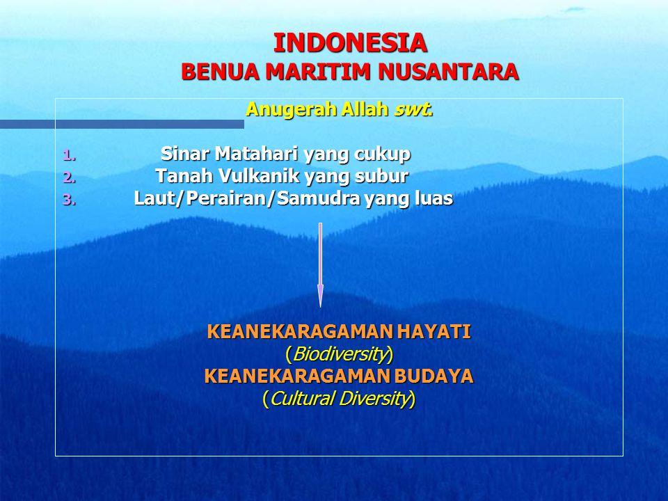 INDONESIA BENUA MARITIM NUSANTARA Anugerah Allah swt. 1. Sinar Matahari yang cukup 2. Tanah Vulkanik yang subur 3. Laut/Perairan/Samudra yang luas KEA