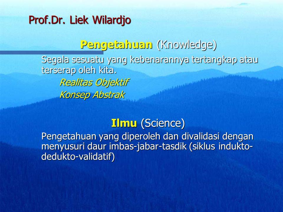 Prof.Dr. Liek Wilardjo Pengetahuan (Knowledge) Segala sesuatu yang kebenarannya tertangkap atau terserap oleh kita. Realitas Objektif Konsep Abstrak I