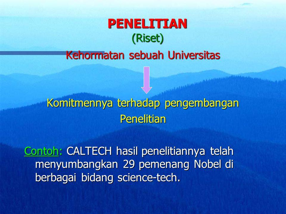 PENELITIAN (Riset) Kehormatan sebuah Universitas Komitmennya terhadap pengembangan Penelitian Contoh: CALTECH hasil penelitiannya telah menyumbangkan 29 pemenang Nobel di berbagai bidang science-tech.