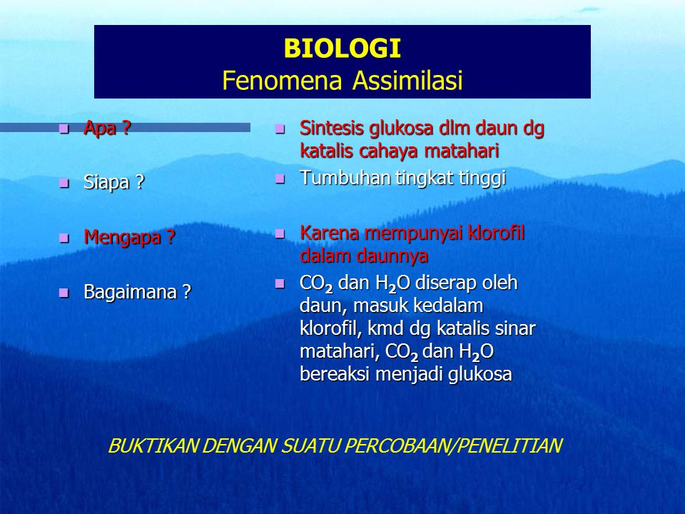 BIOLOGI Fenomena Assimilasi Apa ? Apa ? Siapa ? Siapa ? Mengapa ? Mengapa ? Bagaimana ? Bagaimana ? Sintesis glukosa dlm daun dg katalis cahaya mataha
