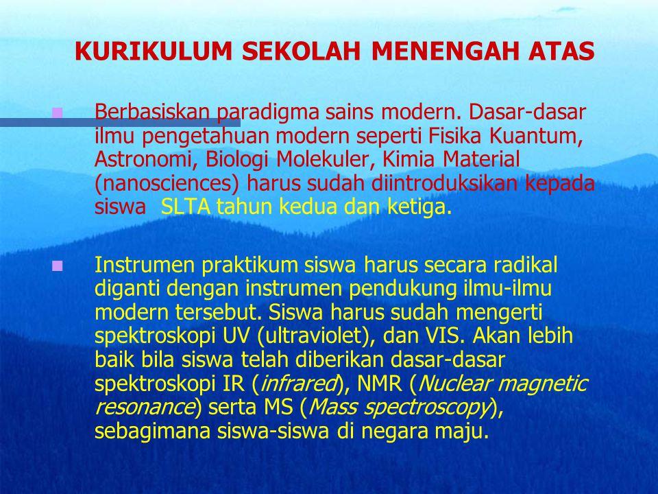 KURIKULUM SEKOLAH MENENGAH ATAS Berbasiskan paradigma sains modern. Dasar-dasar ilmu pengetahuan modern seperti Fisika Kuantum, Astronomi, Biologi Mol