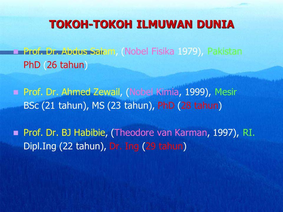 TOKOH-TOKOH ILMUWAN DUNIA Prof. Dr. Abdus Salam, (Nobel Fisika 1979), Pakistan PhD (26 tahun) Prof. Dr. Ahmed Zewail, (Nobel Kimia, 1999), Mesir BSc (