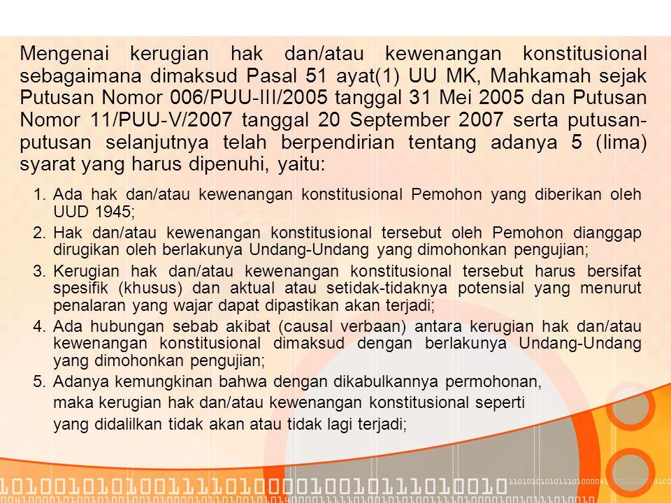 BAGIAN KEDELAPAN: PENGUJIAN UU TERHADAP UUD 1945 6 Pasal 52 Mahkamah Konstitusi menyampaikan permohonan yang sudah dicatat dalam Buku Registrasi Perkara Konstitusi kepada DPR dan Presiden untuk diketahui, dalam jangka waktu paling lambat 7 (tujuh) hari kerja sejak permohonan dicatat dalam Buku Registrasi Perkara Konstitusi.