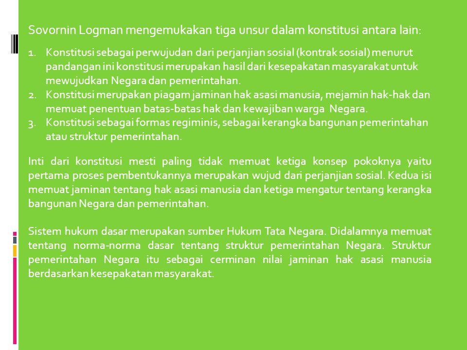 Sovornin Logman mengemukakan tiga unsur dalam konstitusi antara lain: 1.Konstitusi sebagai perwujudan dari perjanjian sosial (kontrak sosial) menurut