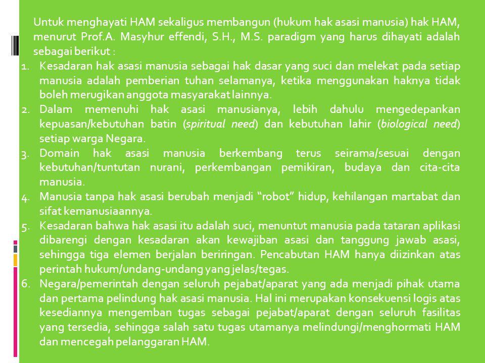 Untuk menghayati HAM sekaligus membangun (hukum hak asasi manusia) hak HAM, menurut Prof.A. Masyhur effendi, S.H., M.S. paradigm yang harus dihayati a