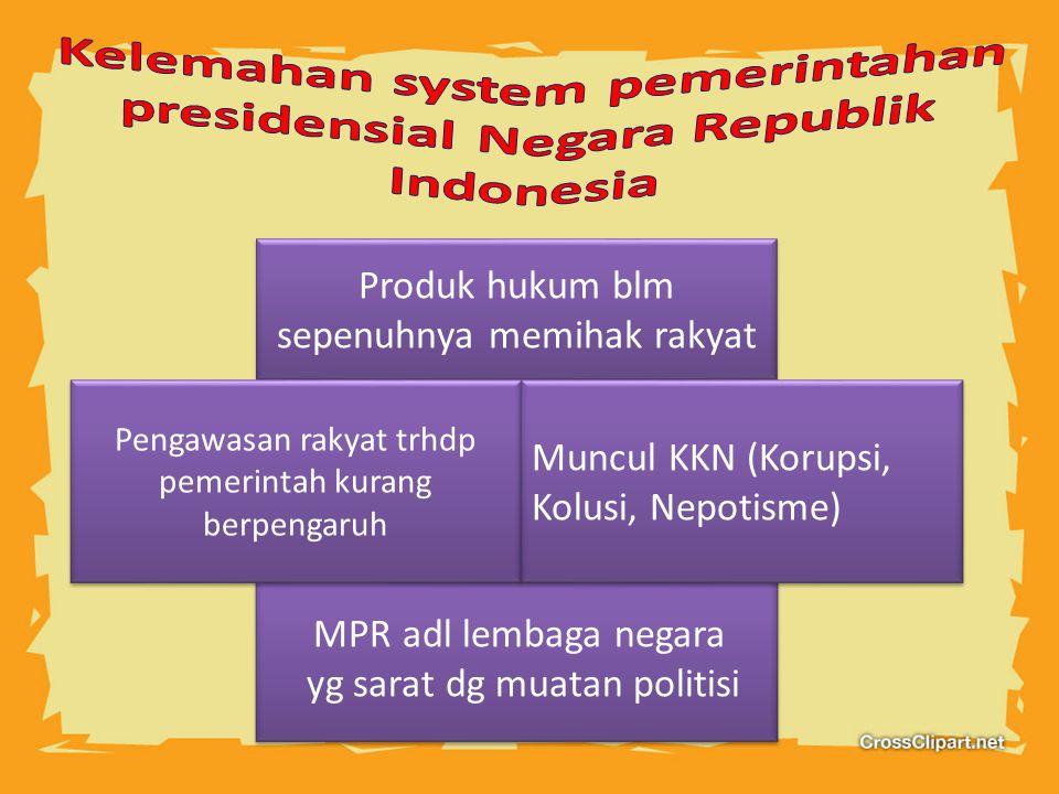 Produk hukum blm sepenuhnya memihak rakyat MPR adl lembaga negara yg sarat dg muatan politisi Pengawasan rakyat trhdp pemerintah kurang berpengaruh Mu