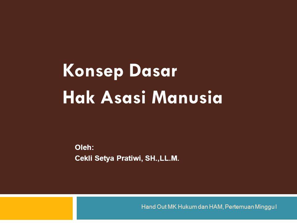 Konsep Dasar Hak Asasi Manusia Hand Out MK Hukum dan HAM, Pertemuan Minggu I Oleh: Cekli Setya Pratiwi, SH.,LL.M.