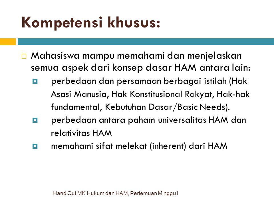 Kompetensi khusus: Hand Out MK Hukum dan HAM, Pertemuan Minggu I  Mahasiswa mampu memahami dan menjelaskan semua aspek dari konsep dasar HAM antara l