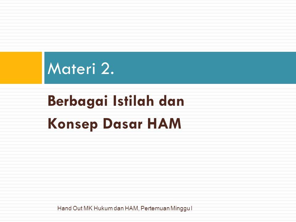 Berbagai Istilah dan Konsep Dasar HAM Materi 2. Hand Out MK Hukum dan HAM, Pertemuan Minggu I