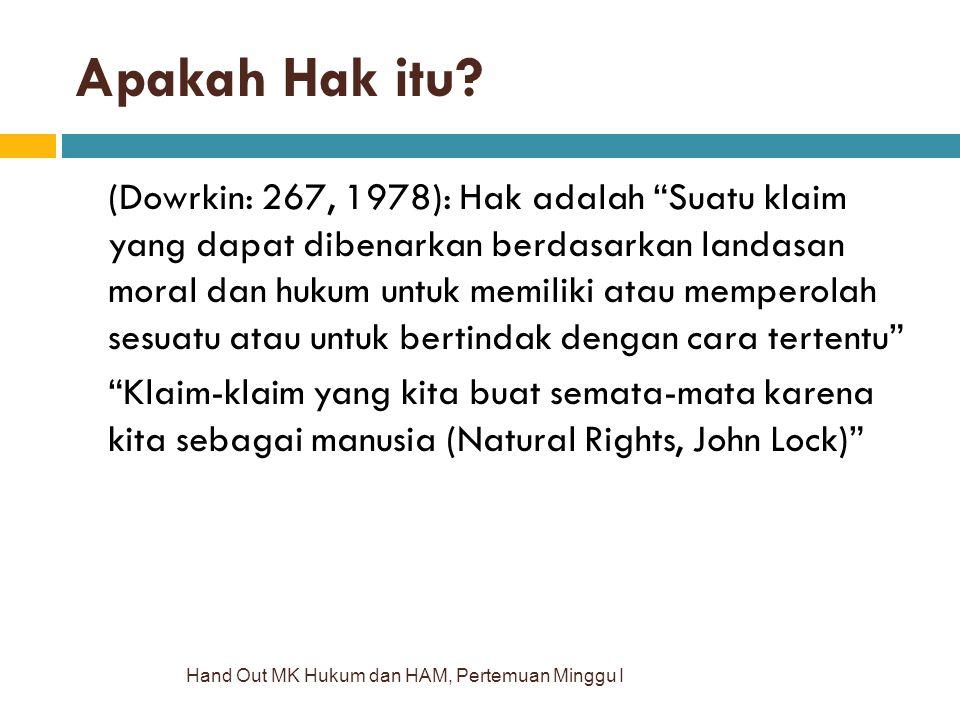 """Apakah Hak itu? Hand Out MK Hukum dan HAM, Pertemuan Minggu I (Dowrkin: 267, 1978): Hak adalah """"Suatu klaim yang dapat dibenarkan berdasarkan landasan"""