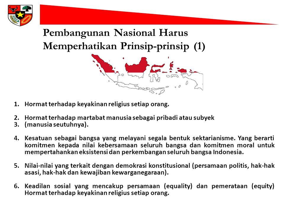 Pembangunan Nasional Harus Memperhatikan Prinsip-prinsip (1) 1.Hormat terhadap keyakinan religius setiap orang. 2.Hormat terhadap martabat manusia seb