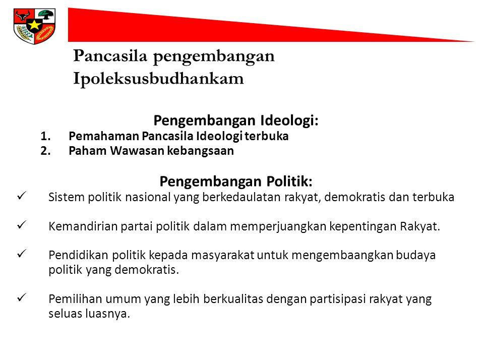 Pancasila pengembangan Ipoleksusbudhankam Pengembangan Ideologi: 1.Pemahaman Pancasila Ideologi terbuka 2.Paham Wawasan kebangsaan Pengembangan Politi