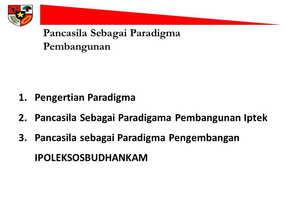 Pancasila Sebagai Paradigma Pembangunan 1.Pengertian Paradigma 2.Pancasila Sebagai Paradigama Pembangunan Iptek 3.Pancasila sebagai Paradigma Pengemba