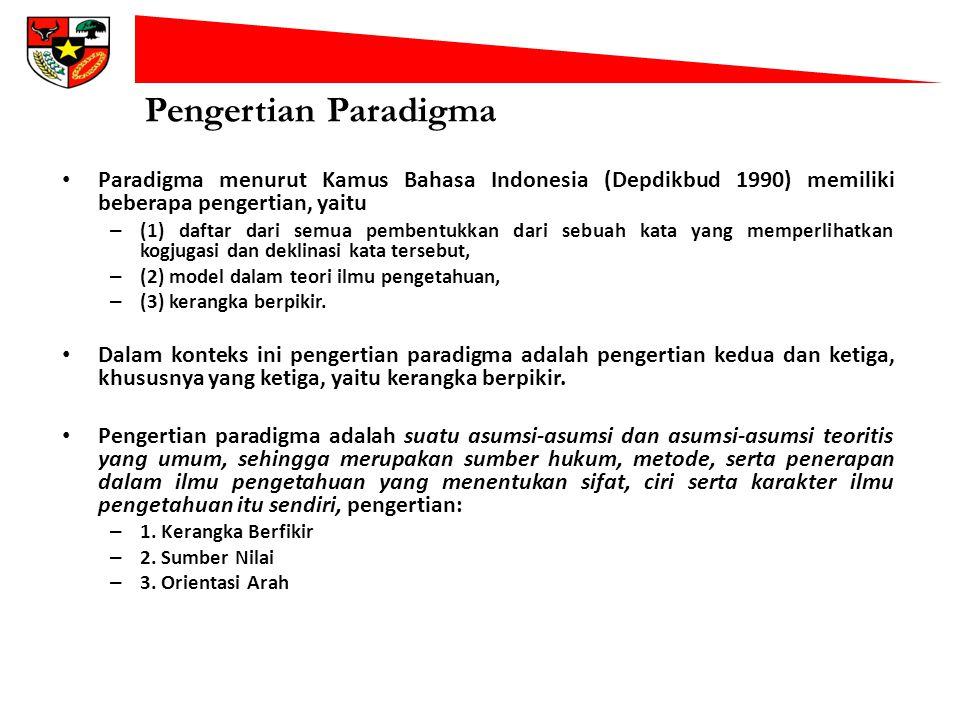 Pengertian Paradigma Paradigma menurut Kamus Bahasa Indonesia (Depdikbud 1990) memiliki beberapa pengertian, yaitu – (1) daftar dari semua pembentukka
