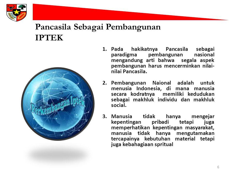 Pancasila Sebagai Pembangunan IPTEK 6 1.Pada hakikatnya Pancasila sebagai paradigma pembangunan nasional mengandung arti bahwa segala aspek pembanguna