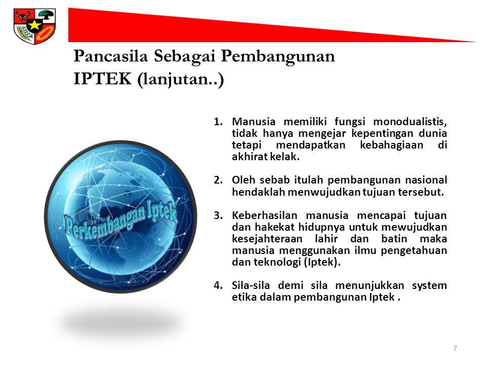 Pancasila Sebagai Pembangunan IPTEK (lanjutan..) 7 1.Manusia memiliki fungsi monodualistis, tidak hanya mengejar kepentingan dunia tetapi mendapatkan
