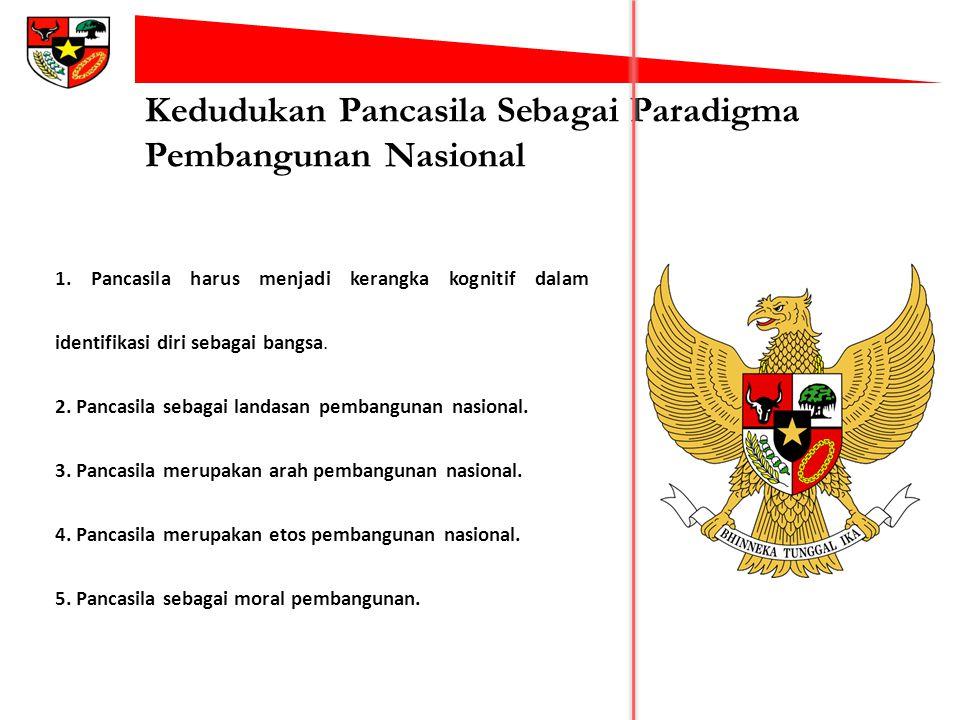 Kedudukan Pancasila Sebagai Paradigma Pembangunan Nasional 1. Pancasila harus menjadi kerangka kognitif dalam identifikasi diri sebagai bangsa. 2. Pan