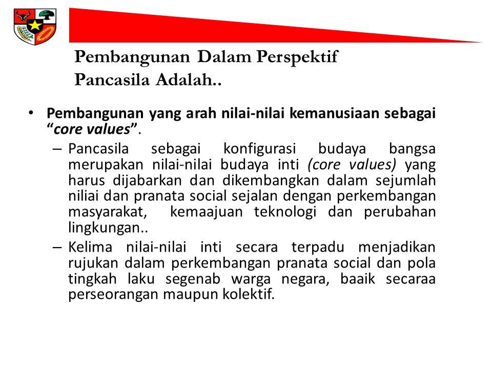 """Pembangunan Dalam Perspektif Pancasila Adalah.. Pembangunan yang arah nilai-nilai kemanusiaan sebagai """"core values"""". – Pancasila sebagai konfigurasi b"""