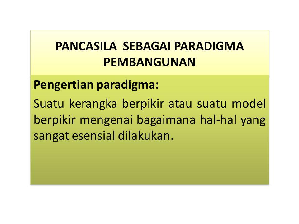 PANCASILA SEBAGAI PARADIGMA PEMBANGUNAN PANCASILA SEBAGAI PARADIGMA PEMBANGUNAN Pengertian paradigma: Suatu kerangka berpikir atau suatu model berpikir mengenai bagaimana hal-hal yang sangat esensial dilakukan.