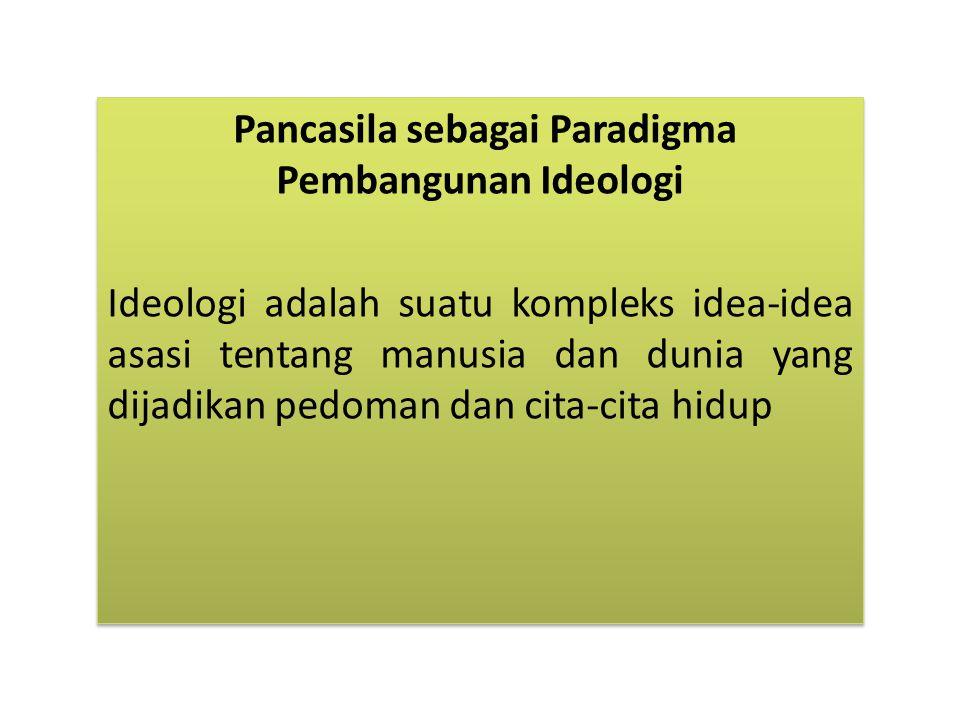 Pancasila sebagai Paradigma Pembangunan Ideologi Ideologi adalah suatu kompleks idea-idea asasi tentang manusia dan dunia yang dijadikan pedoman dan cita-cita hidup Pancasila sebagai Paradigma Pembangunan Ideologi Ideologi adalah suatu kompleks idea-idea asasi tentang manusia dan dunia yang dijadikan pedoman dan cita-cita hidup