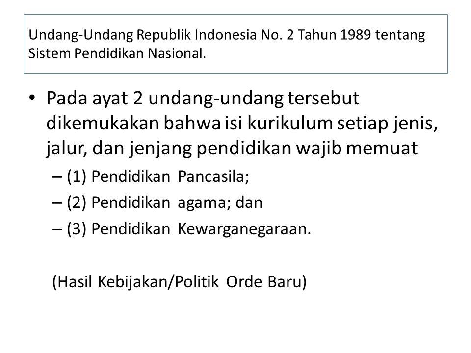 Undang-Undang Republik Indonesia No. 2 Tahun 1989 tentang Sistem Pendidikan Nasional. Pada ayat 2 undang-undang tersebut dikemukakan bahwa isi kurikul