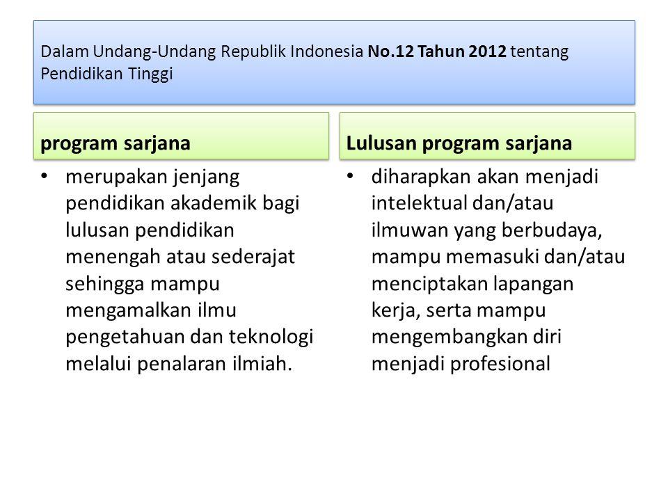 Dalam Undang-Undang Republik Indonesia No.12 Tahun 2012 tentang Pendidikan Tinggi program sarjana merupakan jenjang pendidikan akademik bagi lulusan p