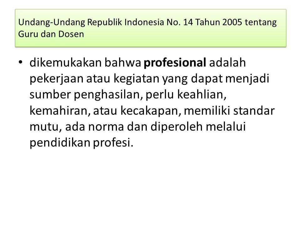 Undang-Undang Republik Indonesia No. 14 Tahun 2005 tentang Guru dan Dosen dikemukakan bahwa profesional adalah pekerjaan atau kegiatan yang dapat menj