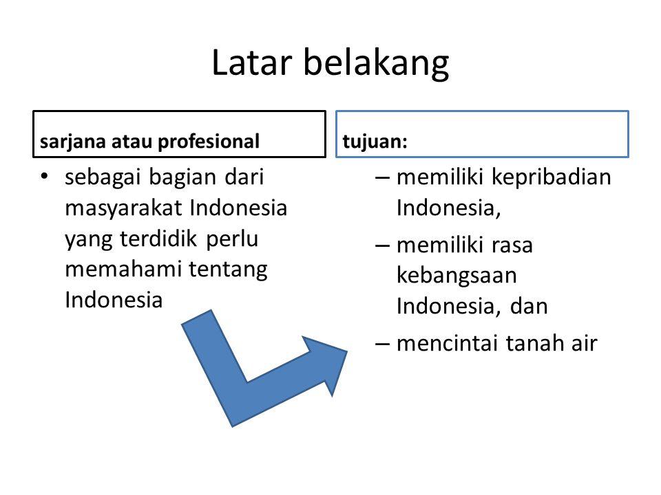 Latar belakang sarjana atau profesional sebagai bagian dari masyarakat Indonesia yang terdidik perlu memahami tentang Indonesia tujuan: – memiliki kep