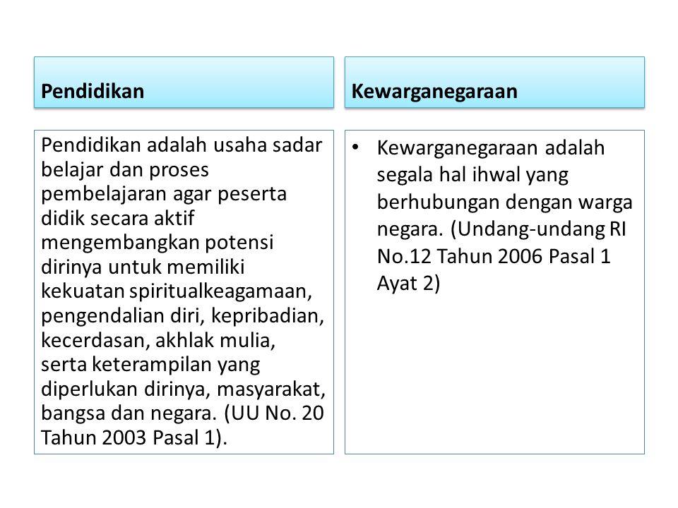 Tujuan Pendidikan kewarganegaraan membentuk peserta didik menjadi manusia yang memiliki rasa kebangsaan dan cinta tanah air (Undang-undang RI No 20 Tahun 2003, Penjelasan Pasal 37)