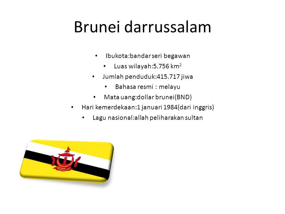 Brunei darrussalam Ibukota:bandar seri begawan Luas wilayah:5.756 km 2 Jumlah penduduk:415.717 jiwa Bahasa resmi : melayu Mata uang:dollar brunei(BND)