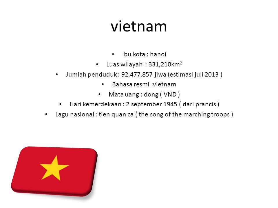 vietnam Ibu kota : hanoi Luas wilayah : 331,210km 2 Jumlah penduduk : 92,477,857 jiwa (estimasi juli 2013 ) Bahasa resmi :vietnam Mata uang : dong ( V
