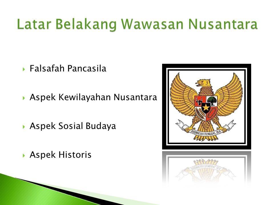  Sebagai Wawasan Nasional Bangsa Indonesia  Sebagai paradigma Nasional ◦ Pancasila sebagai falsafah, ideologi, dan dasar negara (landasan idiil) ◦ UUD 1945 (landasan konstitusional) ◦ Sebagai visi nasional ◦ Ketahanan Nasional Sebagai Landasan Konsepsional ◦ GBHN sebagai politik dan strategi nasional