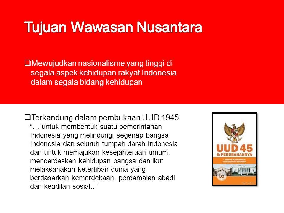 " Mewujudkan nasionalisme yang tinggi di segala aspek kehidupan rakyat Indonesia dalam segala bidang kehidupan  Terkandung dalam pembukaan UUD 1945 """