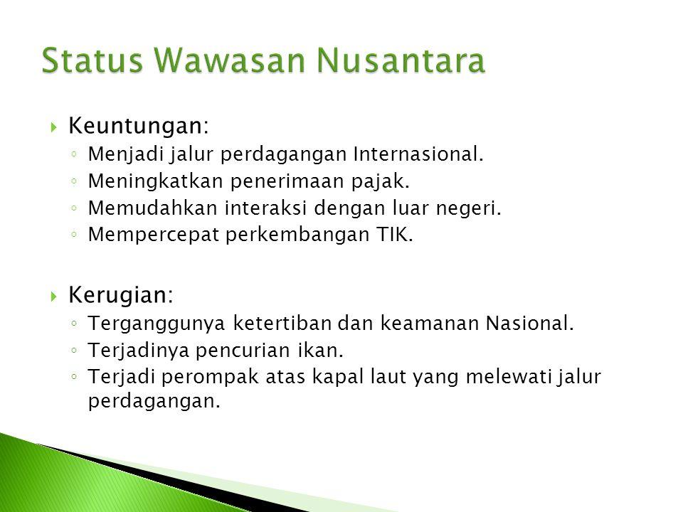 Wawasan Nusantara dalam wujud dan wadahnya, merupakan kesatuan :  Isi Republik Indonesia berupa falsafah Pancasila dan UUD 1945  Wadah Republik Indonesia berupa Nusantara  Tata laku Republik Indonesia berupa UUD 1945 To BAB 9
