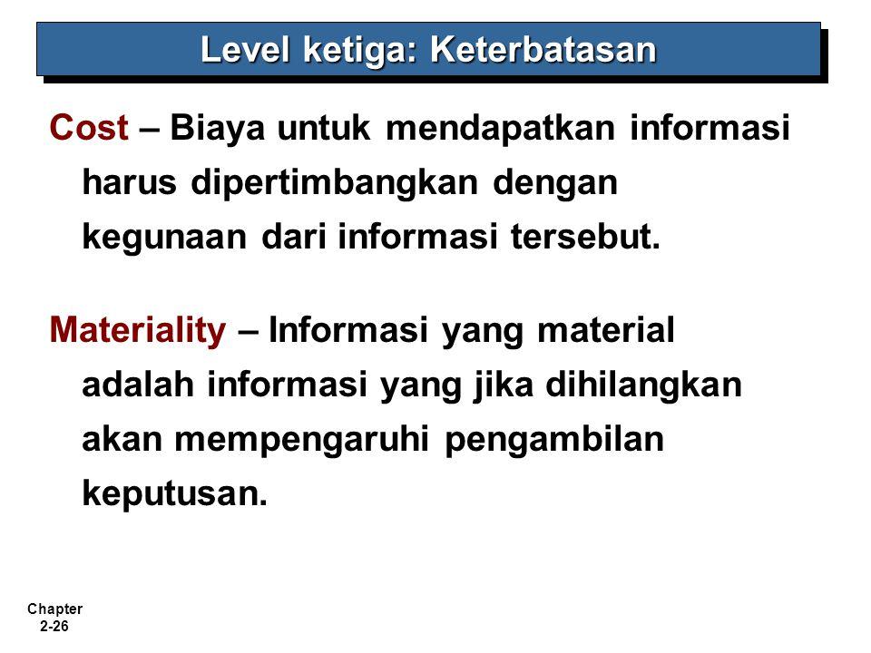 Chapter 2-26 Cost – Biaya untuk mendapatkan informasi harus dipertimbangkan dengan kegunaan dari informasi tersebut. Materiality – Informasi yang mate
