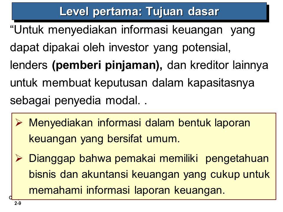 """Chapter 2-9 """"Untuk menyediakan informasi keuangan yang dapat dipakai oleh investor yang potensial, lenders (pemberi pinjaman), dan kreditor lainnya un"""