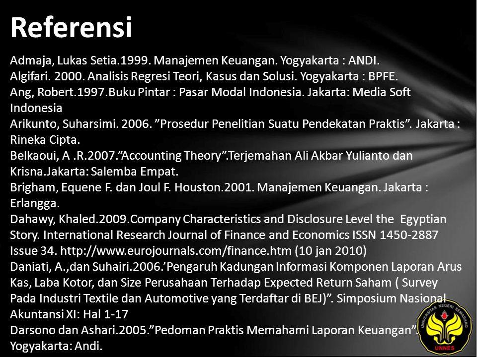 Referensi Admaja, Lukas Setia.1999. Manajemen Keuangan.