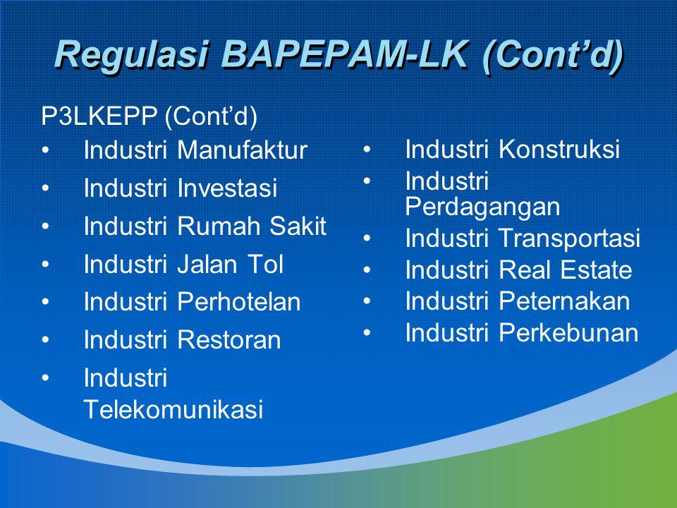 Regulasi BAPEPAM-LK (Cont'd) Industri Manufaktur Industri Investasi Industri Rumah Sakit Industri Jalan Tol Industri Perhotelan Industri Restoran Indu