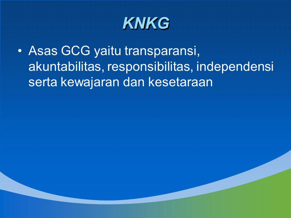 KNKG Asas GCG yaitu transparansi, akuntabilitas, responsibilitas, independensi serta kewajaran dan kesetaraan