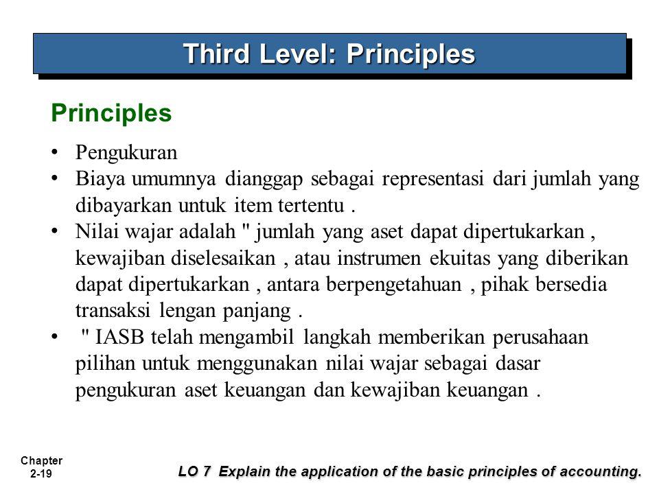 Chapter 2-19 Pengukuran Biaya umumnya dianggap sebagai representasi dari jumlah yang dibayarkan untuk item tertentu. Nilai wajar adalah