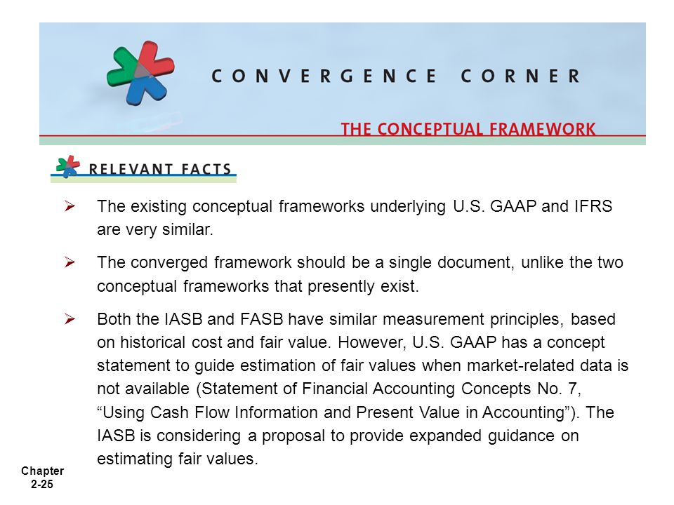 Chapter 2-25  The existing conceptual frameworks underlying U.S. GAAP and IFRS are very similar.  The converged framework should be a single documen