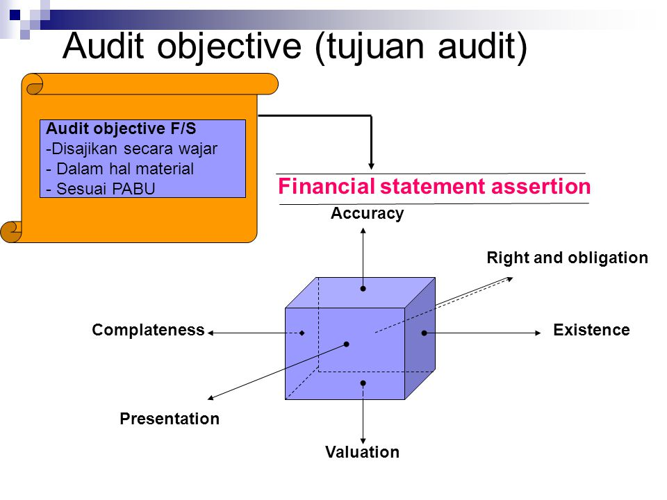 Audit objective (tujuan audit) ExistenceComplateness Accuracy Valuation Presentation Right and obligation Financial statement assertion Audit objectiv
