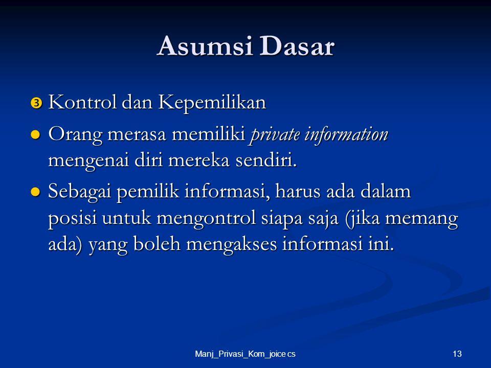 13Manj_Privasi_Kom_joice cs Asumsi Dasar  Kontrol dan Kepemilikan Orang merasa memiliki private information mengenai diri mereka sendiri. Orang meras